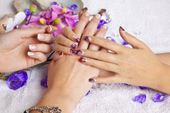 Beauty concept - acrylic fingernails. A beauty concept - hands with acrylic fingernails, flowers, shells and crystals royalty free stock images