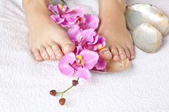 Beauty concept - acrylic toenails Stock Photo
