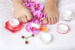 Beauty concept - acrylic toenails Royalty Free Stock Photography