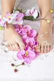 Beauty concept - acrylic toenails Royalty Free Stock Photo