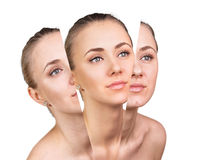 Beauty concept before and after contrast. Royalty Free Stock Photos
