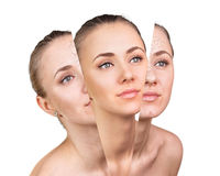 Beauty concept before and after contrast. Stock Photos
