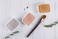 Beauty concept. Flat lay, Different clay mud powders natural ingredients for homemade facial and body mask. Or scrub stock photos