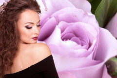 Beauty concept girl on flower background Royalty Free Stock Photo