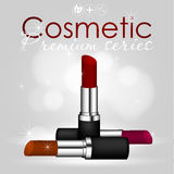 Beauty concept, idea for a magazine, cosmetic cosmologist. Three lipsticks shades in a black case realistic illustration Stock Photos