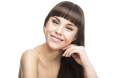 Beauty Concept Image: Sensual Smiling Brunette woman Royalty Free Stock Photos