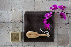 Beauty concept with loofah body brush on limestone for exfoliation Royalty Free Stock Image