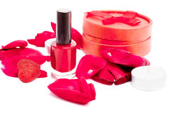 Beauty concept with polish, petals, and heart Royalty Free Stock Photography