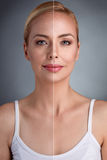 Beauty concept,  before and after Royalty Free Stock Images