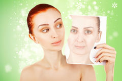 Beauty concept portrait of red haired woman with skin changes, g Royalty Free Stock Photos