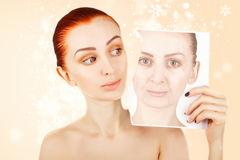 Beauty concept portrait of red haired woman with skin changes, p Royalty Free Stock Photo