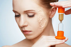 Beauty concept rejuvenation, renewal, skin care, skin problems w Royalty Free Stock Photo