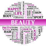 Beauty concept related words in tag round cloud. Vector Royalty Free Stock Images