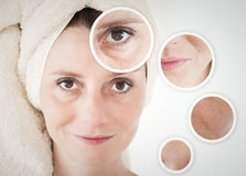 Beauty concept - skin care, anti-aging procedures, rejuvenation,. Lifting, tightening of facial skin Royalty Free Stock Photo