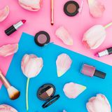 Beauty concept with tulips flowers and cosmetics on blue and pink background. Top view. Flat lay. Spring time. Beauty concept with tulips flowers and cosmetics royalty free stock photography