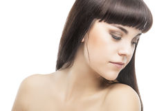 Beauty Concept. Young Sensual Caucasian Woman With Long Straight Royalty Free Stock Photos