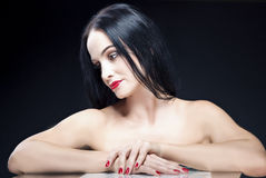 Beauty Concepts and Ideas. Sensual Caucasian Brunette Woman With Stock Images