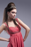 Beauty Concepts. Sensual Caucasian Brunette Woman with Tiara Royalty Free Stock Photos