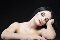 Beauty Concepts. Sexy Relaxing and Dreaming Caucasian Brunette W Royalty Free Stock Photo