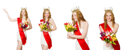 The beauty contest winner isolated on the white Royalty Free Stock Images