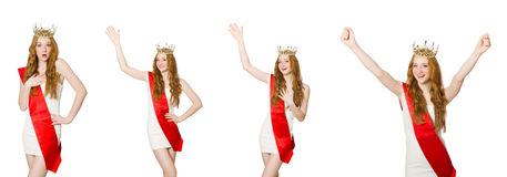 The beauty contest winner isolated on the white Royalty Free Stock Image