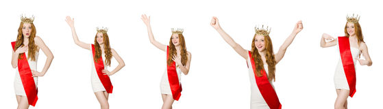 The beauty contest winner isolated on the white Royalty Free Stock Photos