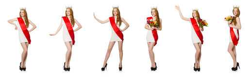 The beauty contest winner isolated on the white Royalty Free Stock Photography