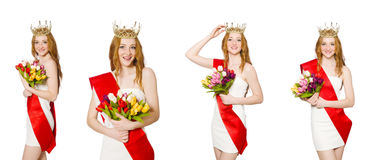 The beauty contest winner isolated on the white Stock Photo