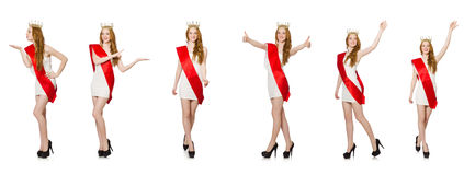The beauty contest winner isolated on the white Stock Image