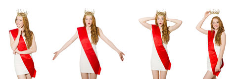 The beauty contest winner isolated on the white Stock Photography