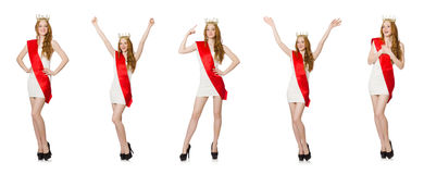 The beauty contest winner isolated on the white Stock Photos