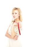 Beauty with coral beads Stock Photography