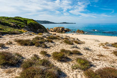 Beauty of Corsica. Beautiful Corsica beach, mountains, sea stock photography