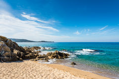 Beauty of Corsica. Beautiful Corsica beach, mountains, sea royalty free stock image
