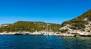 Beauty of Corsica nature. Landscape of Corsica nature, sea and mountains. Travels with boat to near city stock images