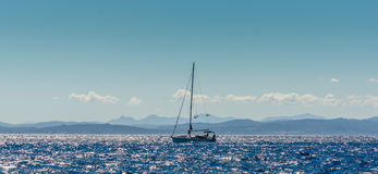 Beauty of Corsica nature. Landscape of Corsica nature, sea and mountains. Travels with boat to near city stock photos