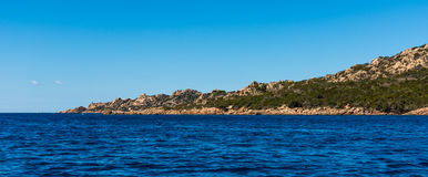 Beauty of Corsica nature. Landscape of Corsica nature, sea and mountains. Travels with boat to near city royalty free stock images