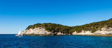 Beauty of Corsica nature. Landscape of Corsica nature, sea and mountains. Travels with boat to near city royalty free stock photos