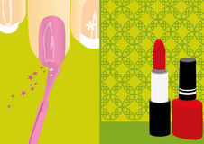 Beauty / cosmetic. Nail polish and lipstick. Two versions about cosmetics Royalty Free Stock Photos