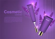 Beauty cosmetic ads, Cosmetic cream with lavender and small shin. Ing lights Royalty Free Stock Photos