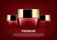 Beauty cosmetic ads, red cosmetic cream on red background.  Stock Photography