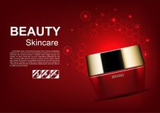 Beauty cosmetic ads, red cream with glowing light and hexagons.  vector illustration