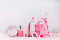 Beauty and cosmetic bottles in pastel color Stock Images