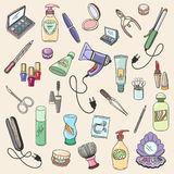 Beauty and cosmetic hand drawn items Stock Photography