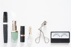 Beauty and cosmetic items, Flat lay isolated on white Stock Images