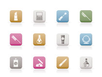Beauty, cosmetic and make-up icons stock illustration