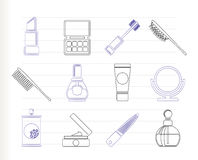 Beauty, cosmetic and make-up icons royalty free illustration