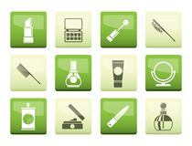 Beauty, cosmetic and make-up icons over green background stock illustration