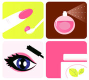 Beauty, cosmetic and makeup icons royalty free illustration
