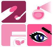 Beauty, cosmetic and makeup icons stock illustration